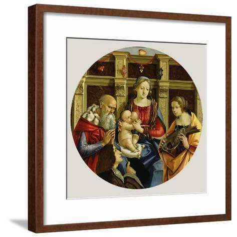 Madonna and Child with a Male Saint, Catherine of Alexandria and a Donor, c.1500-Michelangelo di Pietro Membrini-Framed Art Print