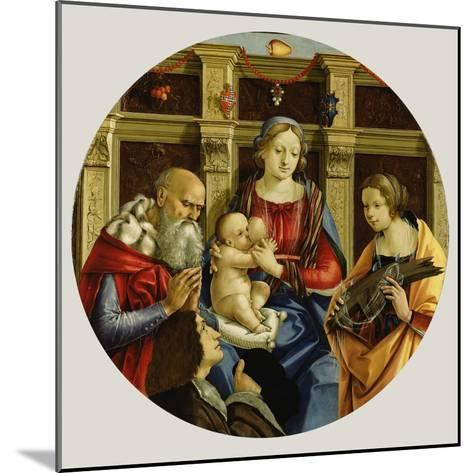 Madonna and Child with a Male Saint, Catherine of Alexandria and a Donor, c.1500-Michelangelo di Pietro Membrini-Mounted Giclee Print