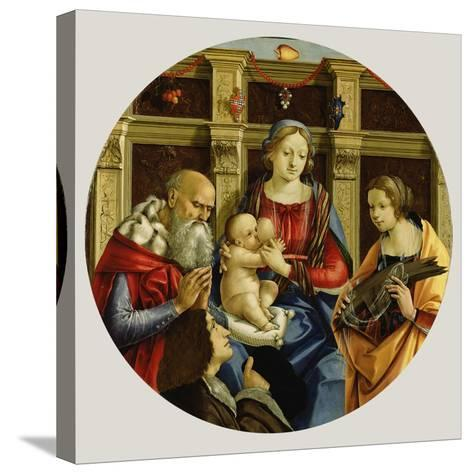 Madonna and Child with a Male Saint, Catherine of Alexandria and a Donor, c.1500-Michelangelo di Pietro Membrini-Stretched Canvas Print