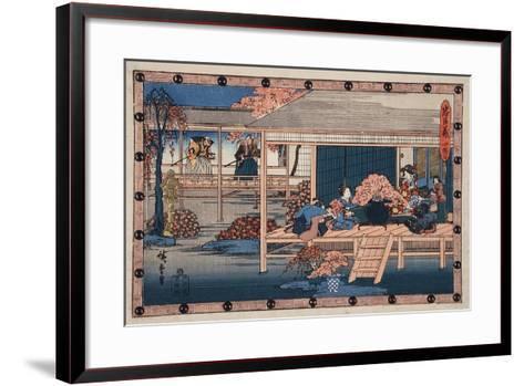 Envoys from Shogun Approach Lady Kaoyo, Enya's Castle, Bringing Sentence of Death to Enya, c.1835-9-Ando or Utagawa Hiroshige-Framed Art Print