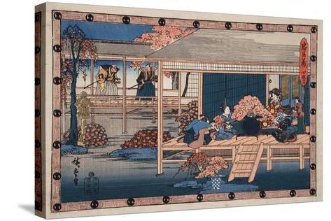 Envoys from Shogun Approach Lady Kaoyo, Enya's Castle, Bringing Sentence of Death to Enya, c.1835-9-Ando or Utagawa Hiroshige-Stretched Canvas Print