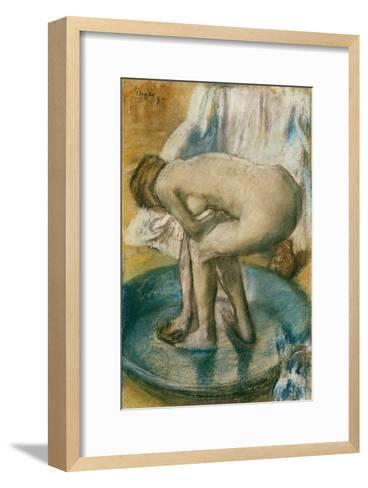Woman Bathing in a Shallow Tub, 1885-Edgar Degas-Framed Art Print