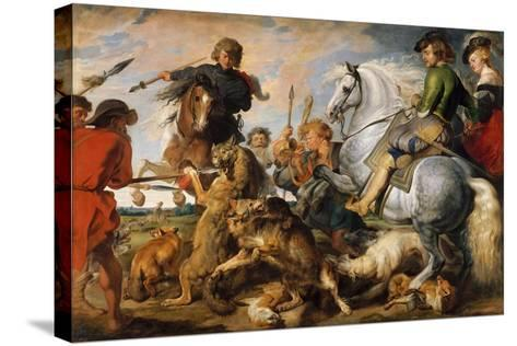 Wolf and Fox Hunt, c.1616-Peter Paul Rubens-Stretched Canvas Print