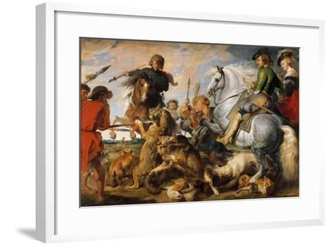 Wolf and Fox Hunt, c.1616-Peter Paul Rubens-Framed Art Print