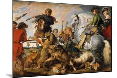 Wolf and Fox Hunt, c.1616-Peter Paul Rubens-Mounted Giclee Print