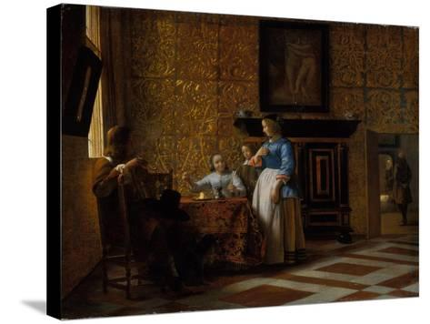 Leisure time in an elegant Setting, c.1663-65-Pieter de Hooch-Stretched Canvas Print