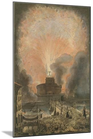The Girandola at the Castel Sant'Angelo, c.1781-Louis Jean Desprez-Mounted Giclee Print
