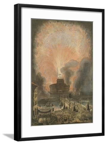 The Girandola at the Castel Sant'Angelo, c.1781-Louis Jean Desprez-Framed Art Print