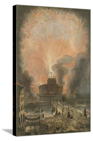 The Girandola at the Castel Sant'Angelo, c.1781-Louis Jean Desprez-Stretched Canvas Print