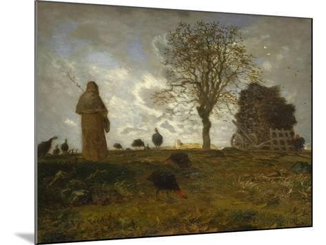 Autumn Landscape with a Flock of Turkeys, 1872-73-Jean-Francois Millet-Mounted Giclee Print