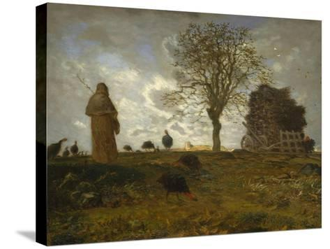 Autumn Landscape with a Flock of Turkeys, 1872-73-Jean-Francois Millet-Stretched Canvas Print