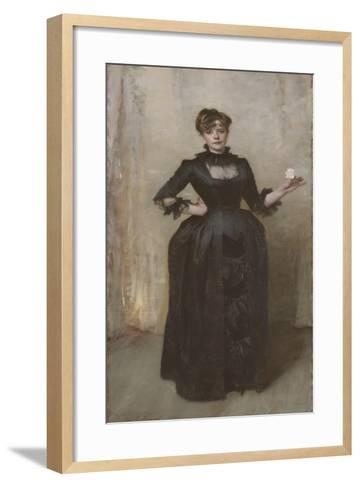 Lady with the Rose (Charlotte Louise Burckhardt), 1882-John Singer Sargent-Framed Art Print