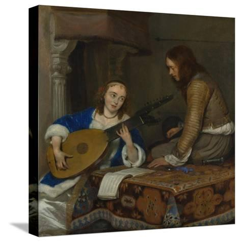 A Woman Playing the Theorbo-Lute and a Cavalier, c.1658-Gerard ter Borch or Terborch-Stretched Canvas Print
