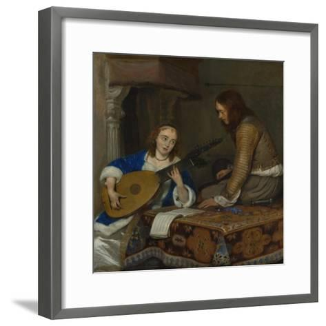 A Woman Playing the Theorbo-Lute and a Cavalier, c.1658-Gerard ter Borch or Terborch-Framed Art Print