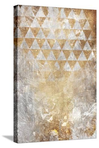Triangular Takeover Gold-Jace Grey-Stretched Canvas Print