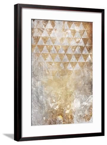 Triangular Takeover Gold-Jace Grey-Framed Art Print