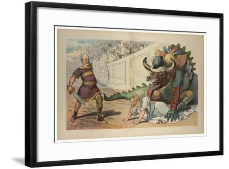 Fighting An Industrial Monster-JS Pughe-Framed Art Print