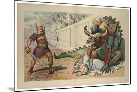 Fighting An Industrial Monster-JS Pughe-Mounted Art Print
