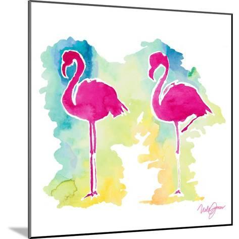 Sunset Flamingo-Nola James-Mounted Art Print
