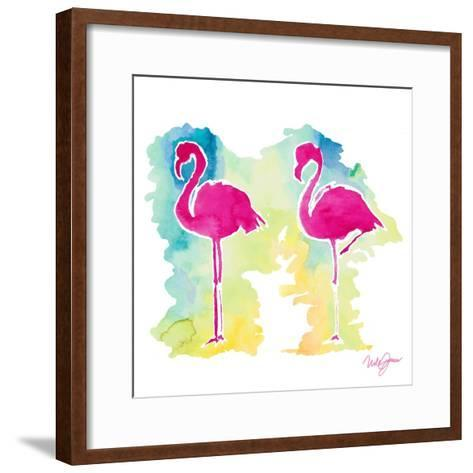 Sunset Flamingo-Nola James-Framed Art Print
