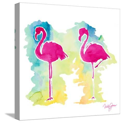 Sunset Flamingo-Nola James-Stretched Canvas Print