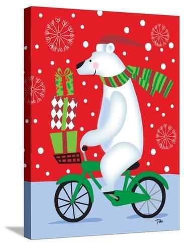 Polar Bear & Bicicle-Teresa Woo-Stretched Canvas Print