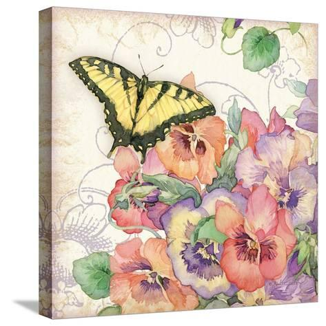 Pansies & Butterflies-Julie Paton-Stretched Canvas Print