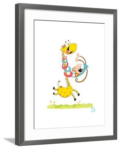 Move it! Move It!- Blue Fish-Framed Art Print