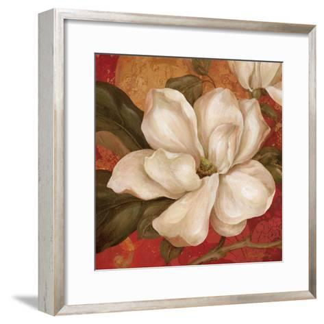 Magnolia on Red II-Pamela Gladding-Framed Art Print