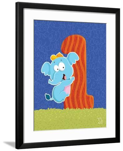 Ellie 1- Blue Fish-Framed Art Print