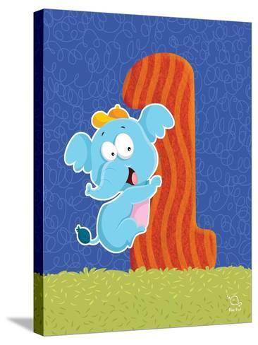Ellie 1- Blue Fish-Stretched Canvas Print