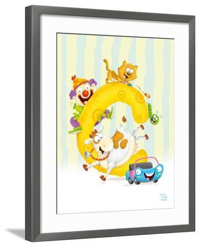 Curly C- Blue Fish-Framed Art Print