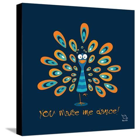 Dancing Feet- Blue Fish-Stretched Canvas Print