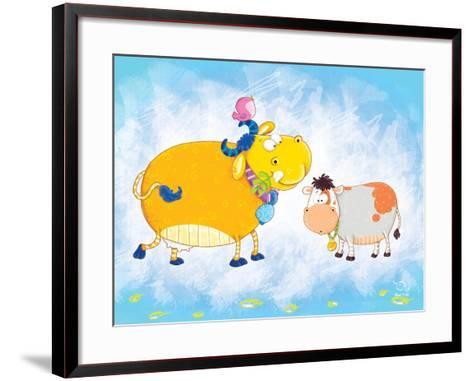 Milky Moo- Blue Fish-Framed Art Print