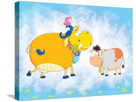 Milky Moo- Blue Fish-Stretched Canvas Print
