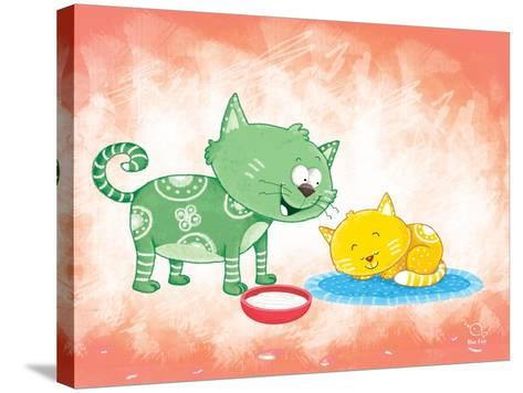 Kitty Koo- Blue Fish-Stretched Canvas Print
