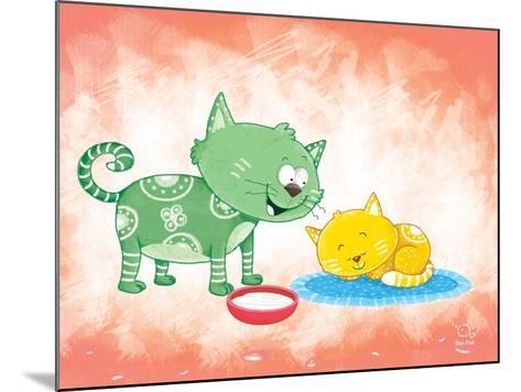 Kitty Koo- Blue Fish-Mounted Art Print