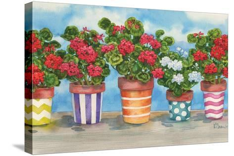Fancy Pots Geraniums-Paul Brent-Stretched Canvas Print