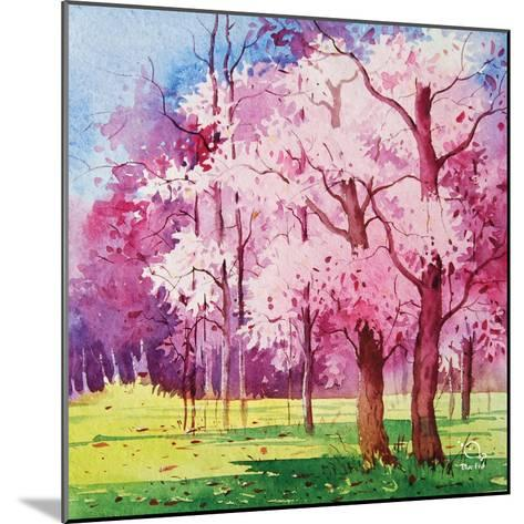Cherry Blooms II- Blue Fish-Mounted Art Print