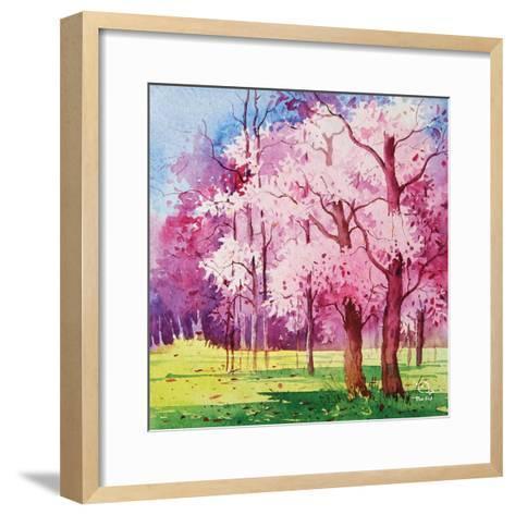 Cherry Blooms II- Blue Fish-Framed Art Print