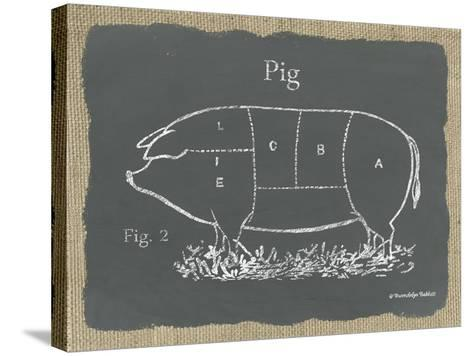 Pig on Burlap-Gwendolyn Babbitt-Stretched Canvas Print