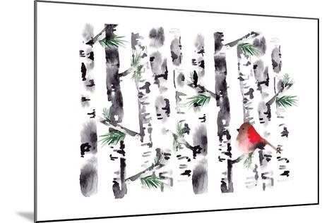 Bird in Birch-Sara Berrenson-Mounted Art Print
