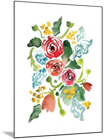 Red Floral Array I-Sara Berrenson-Mounted Art Print
