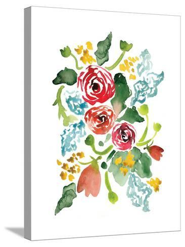 Red Floral Array I-Sara Berrenson-Stretched Canvas Print