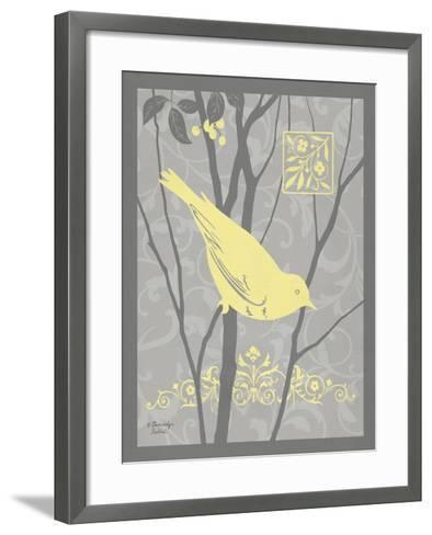 Grey & Yellow Bird II-Gwendolyn Babbitt-Framed Art Print