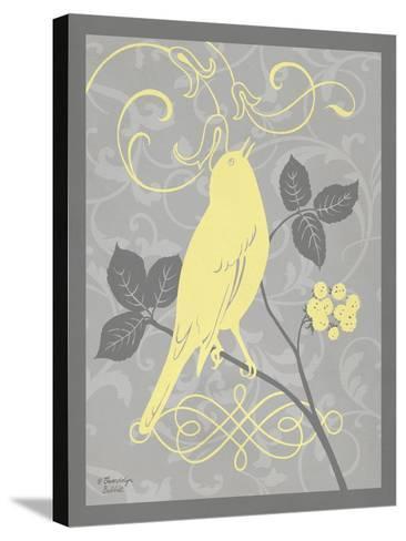 Grey & Yellow Bird III-Gwendolyn Babbitt-Stretched Canvas Print