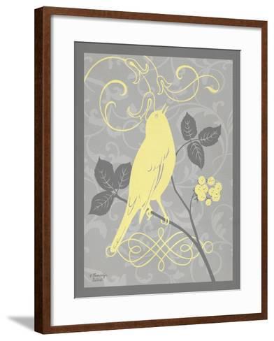 Grey & Yellow Bird III-Gwendolyn Babbitt-Framed Art Print