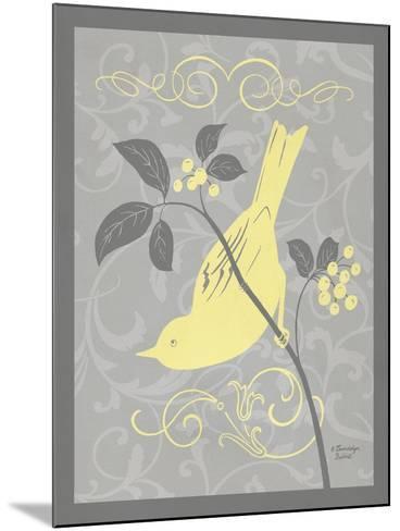 Grey & Yellow Bird I-Gwendolyn Babbitt-Mounted Art Print