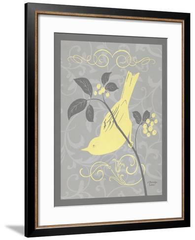 Grey & Yellow Bird I-Gwendolyn Babbitt-Framed Art Print