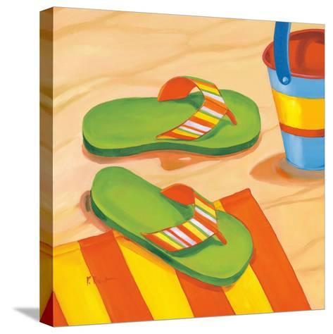 Green Flip Flops-Paul Brent-Stretched Canvas Print